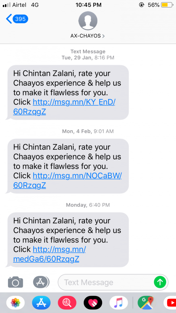 How Chaayos Requests Its Customers for Reviews by Coupling Sms with Interactive Forms
