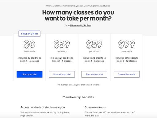 Startup business ClassPass offered a FREE month