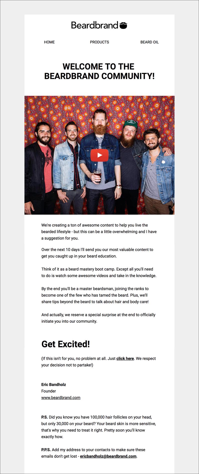 beardband welcome email